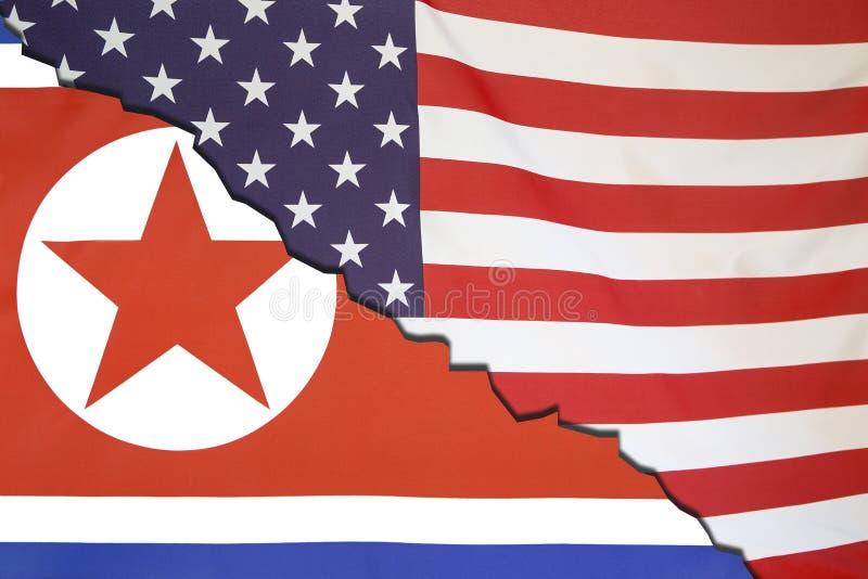 De onderbrekingen van Noord-Korea met de V.S., vlagconcept royalty-vrije stock fotografie