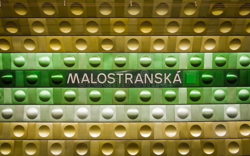 De ondergrondse metro van Praag, Malostranska-post royalty-vrije stock afbeeldingen
