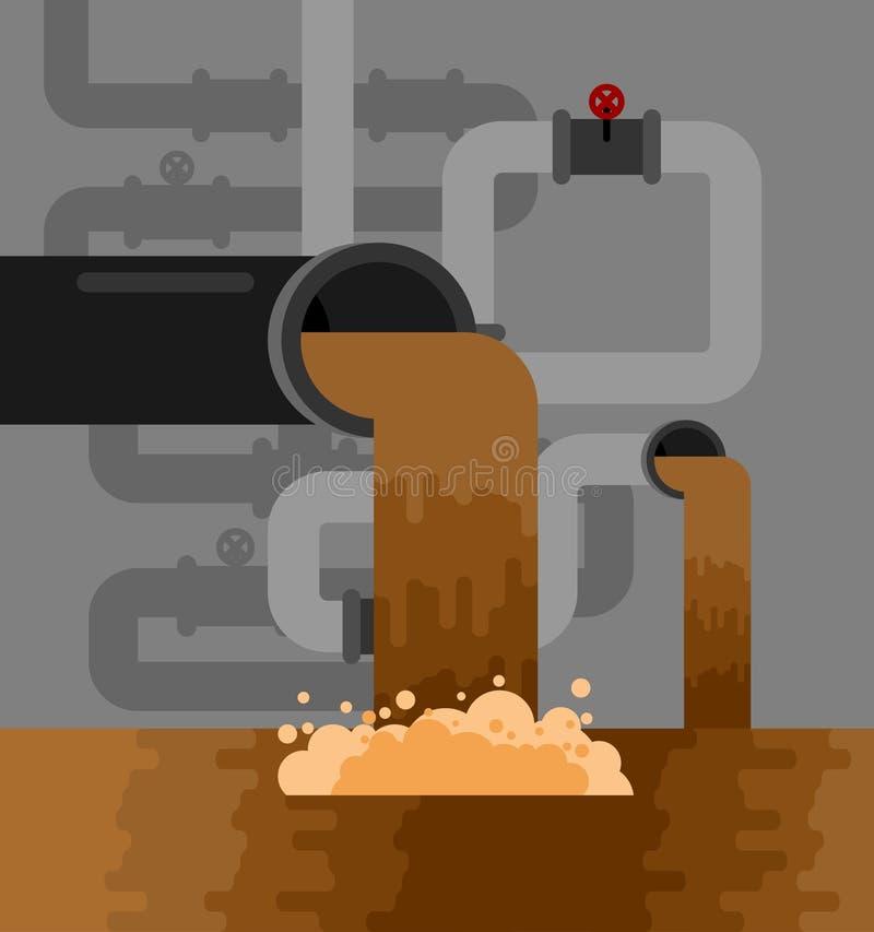 De ondergrondse pijp van het rioleringssysteem Watervoorziening en Hygiënese royalty-vrije illustratie
