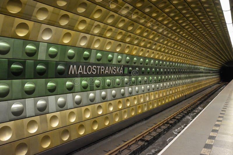 De ondergrondse post Malistranska in Praag, Tsjechische Republiek royalty-vrije stock afbeelding