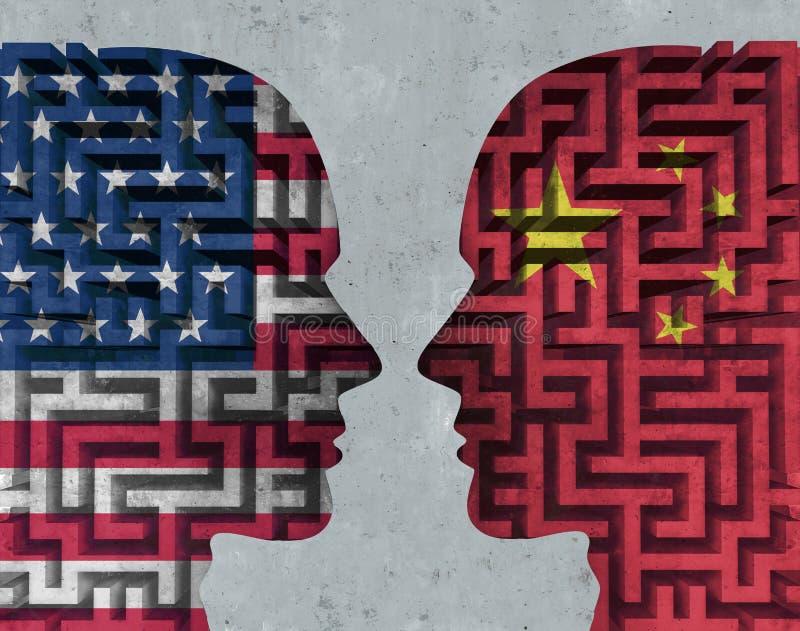 De Onderhandelingen van Verenigde Staten China royalty-vrije illustratie