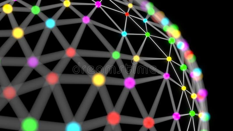 De onderling verbonden samenvatting van het bolnetwerk vector illustratie