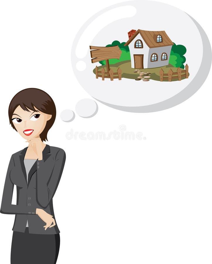 De onderneemster denkt om een huis te kopen royalty-vrije illustratie