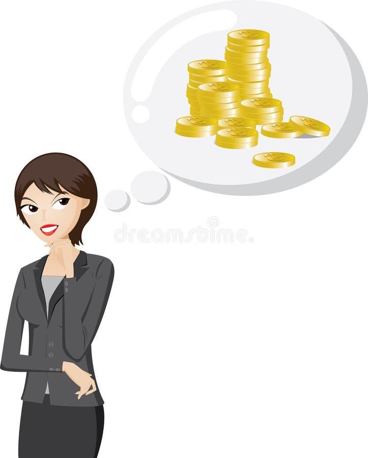 De onderneemster denkt over bonusgeld vector illustratie