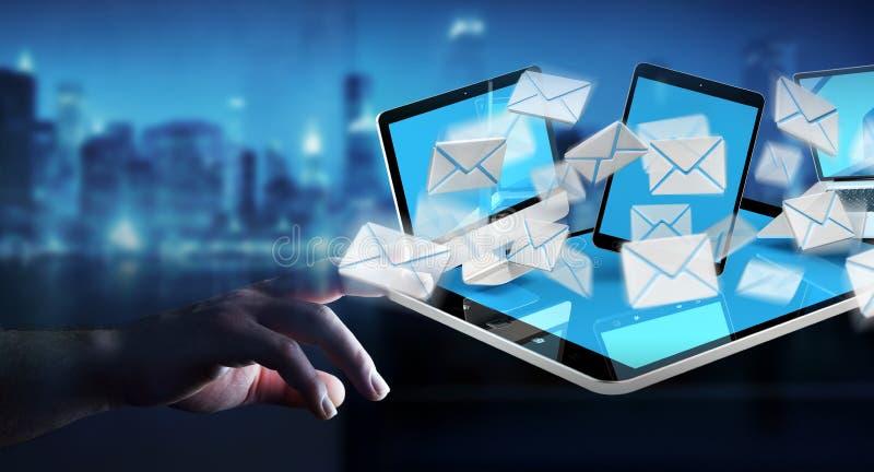 De onderneemster die e-mail op haar digitale 3D apparaten ontvangen geeft terug vector illustratie