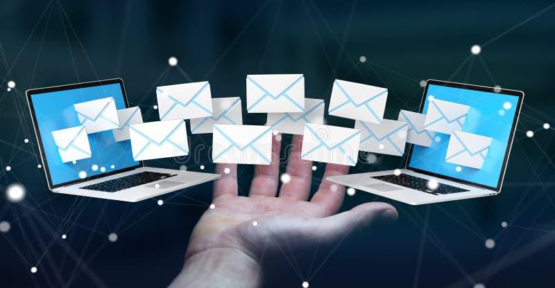 De onderneemster die e-mail op haar digitale 3D apparaten ontvangen geeft terug stock illustratie
