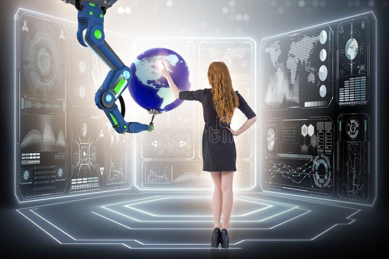 De onderneemster in futuristisch globaal bedrijfsconcept royalty-vrije stock foto