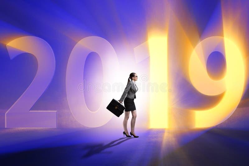 De onderneemster in het concept overgang naar jaar 2019 stock afbeeldingen