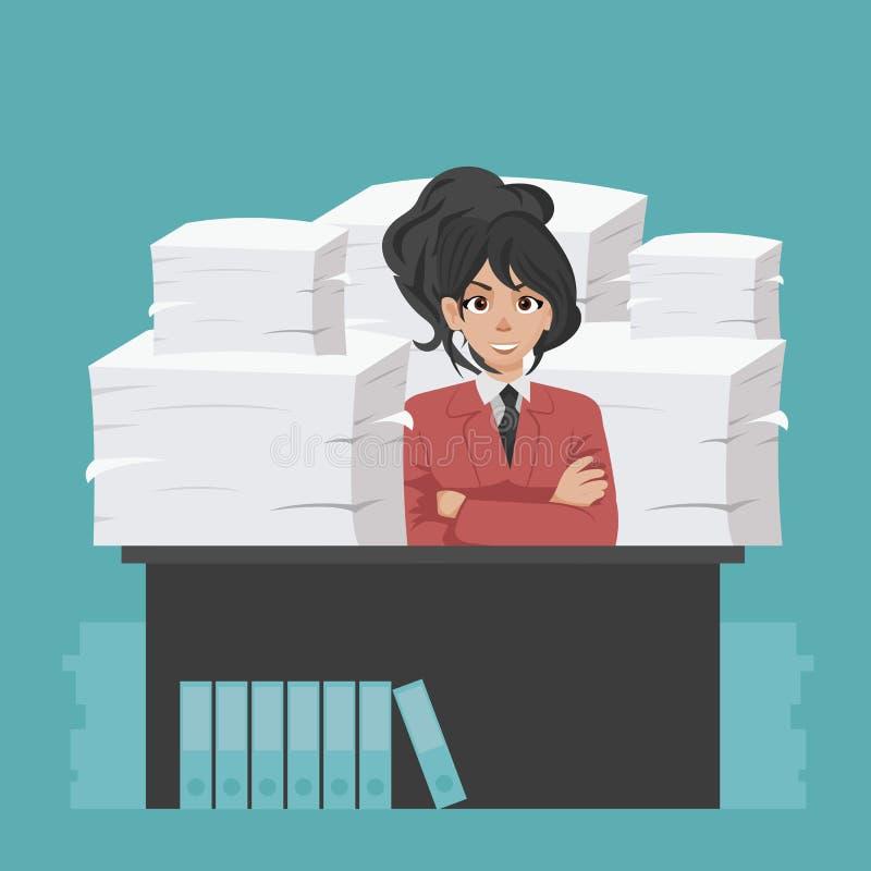 De onderneemster houdt stapel van bureaudocumenten en documenten Documenten en dossierroutine, bureaucratie, grote gegevens, admi stock illustratie