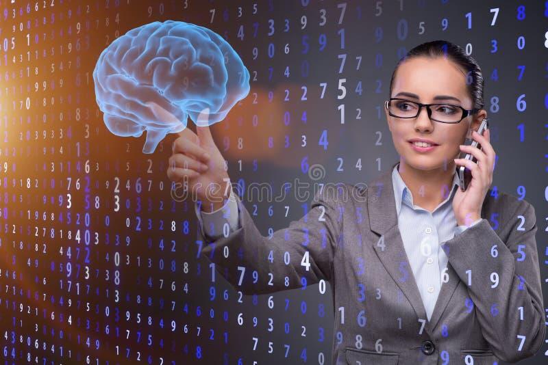 De onderneemster in kunstmatige intelligentieconcept royalty-vrije stock afbeelding