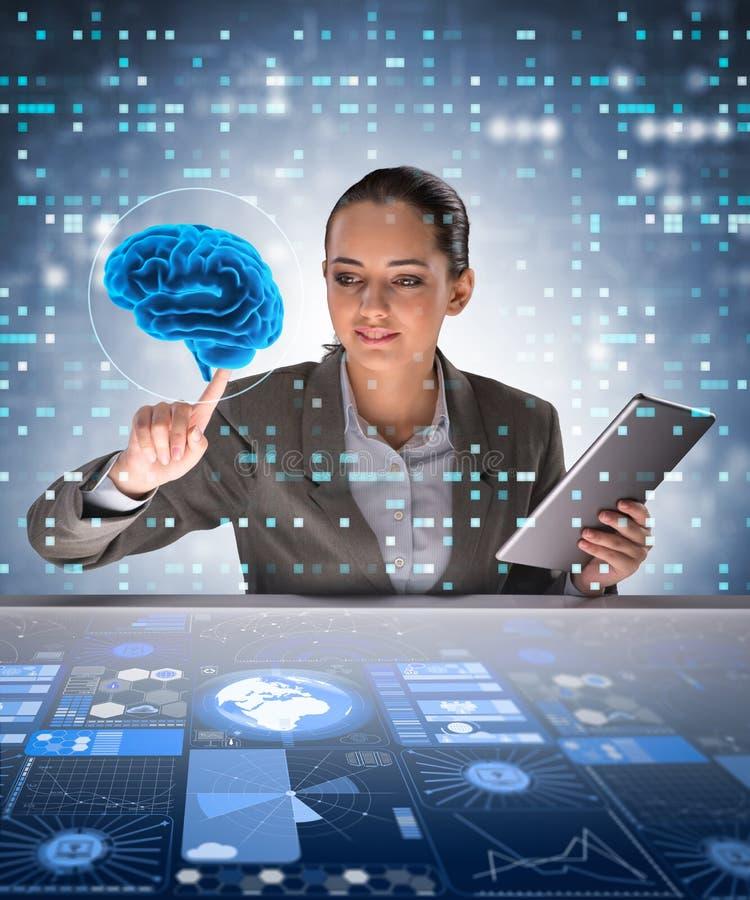 De onderneemster in kunstmatige intelligentieconcept stock afbeeldingen