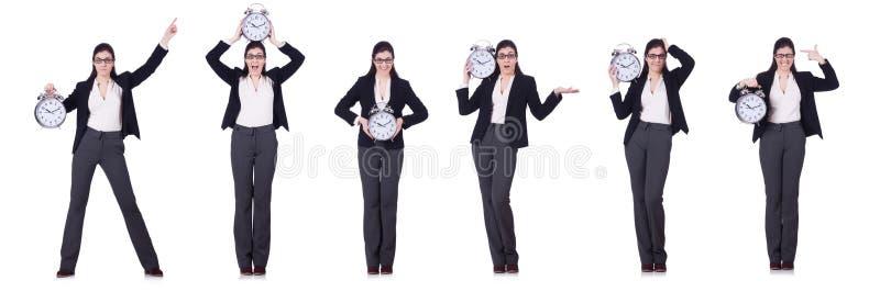 De onderneemster met het concept van het klok op tijd beheer royalty-vrije stock afbeelding