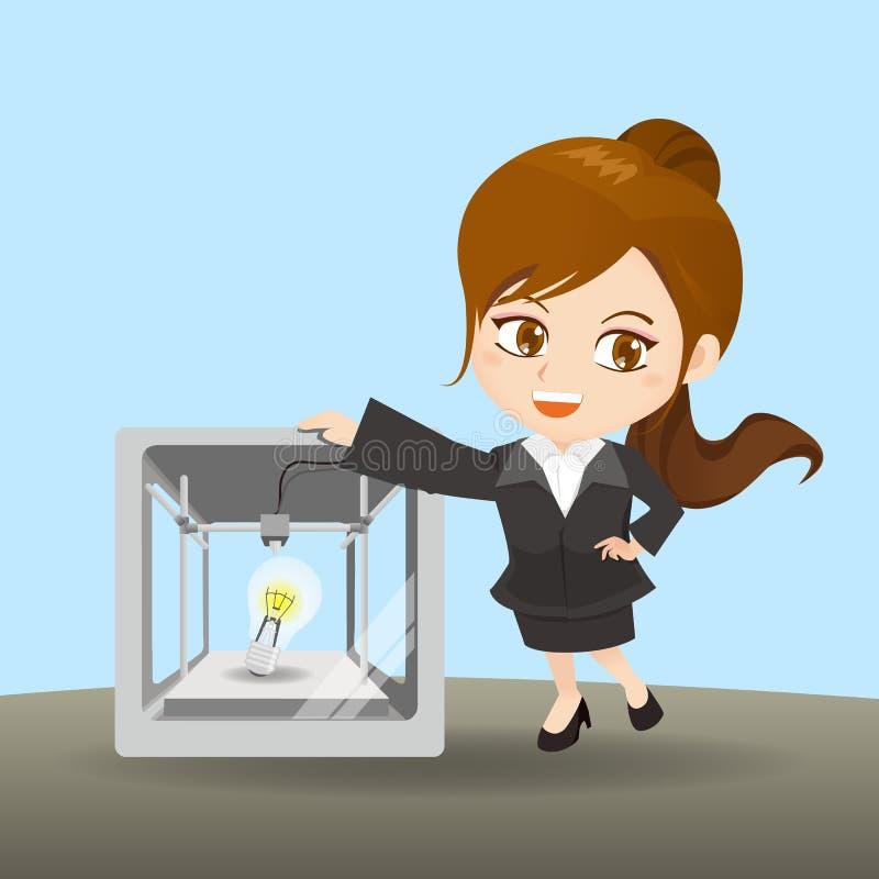 De onderneemster toont 3D printer vector illustratie