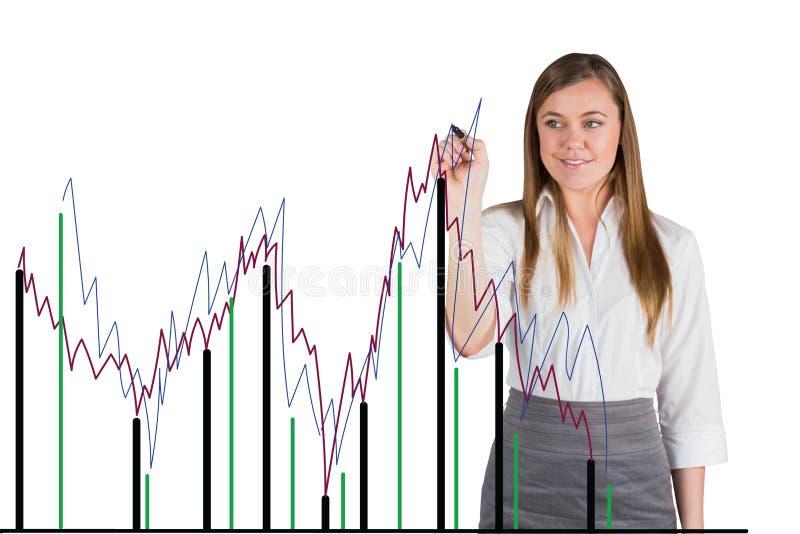 De onderneemster trekt een grafiek op het scherm tegen witte achtergrond royalty-vrije stock foto's