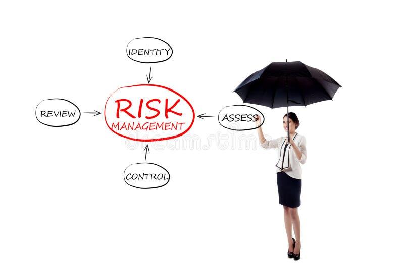 De onderneemster trekt risicobeheerproces stock foto