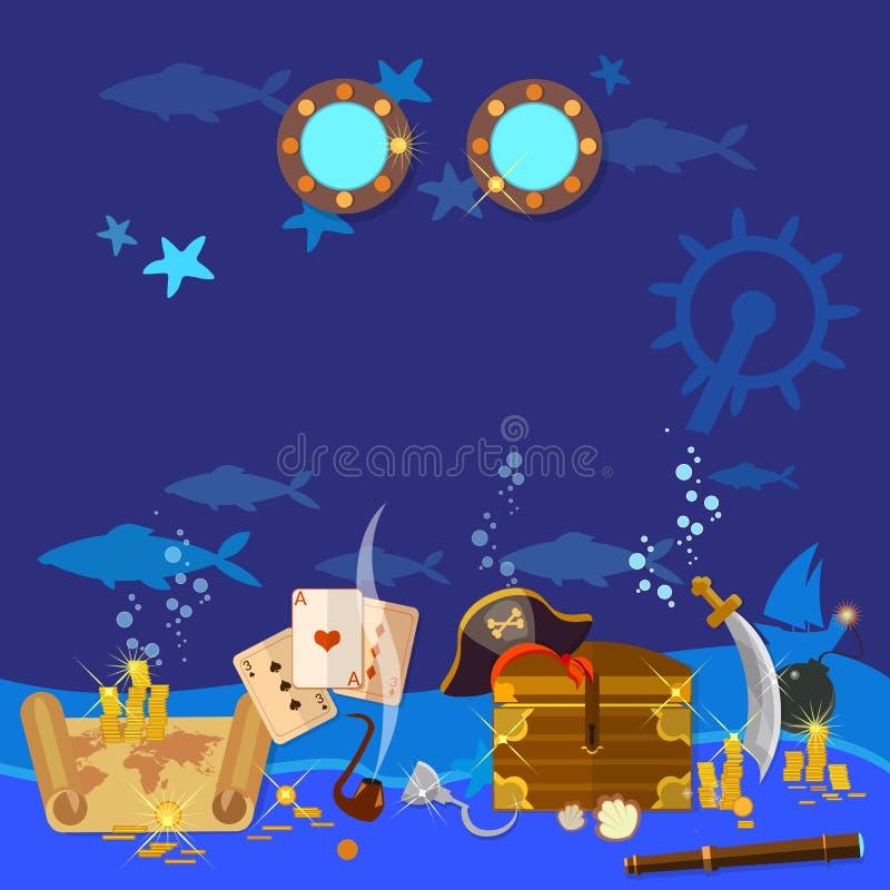 De onderwaterborst van de schatpiraat met goud vector illustratie