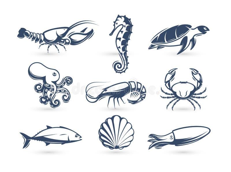 De onderwaterinzameling van het wereld vectorpictogram Graverende silhouet moderne stijl Zeekreeft, schildpad, krab, seahorse, ga royalty-vrije illustratie