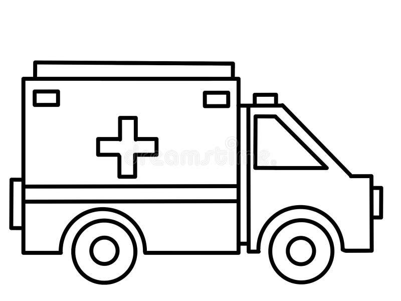 De onderwijs kleurende pagina's van de vrachtwagenziekenwagen stock illustratie