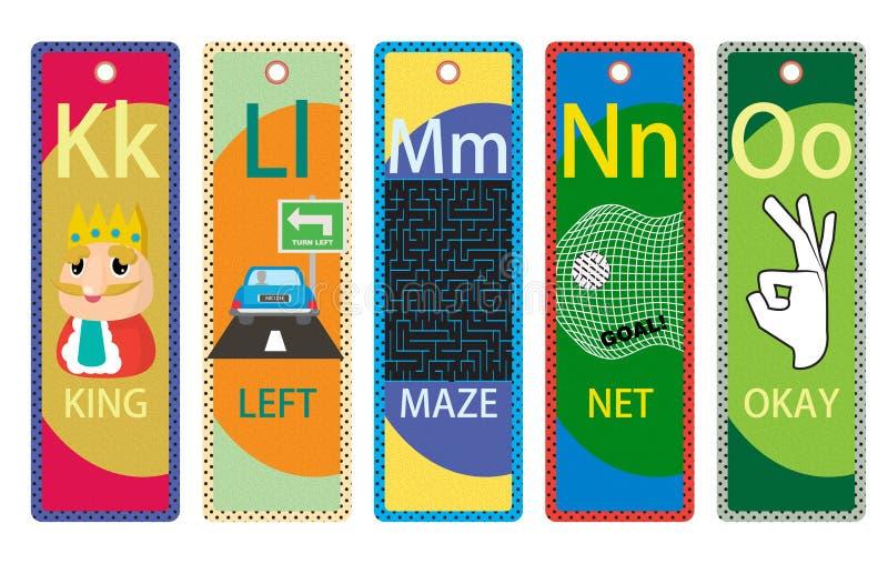 De OnderwijsReferenties k-o van het alfabet voor Kinderen stock illustratie