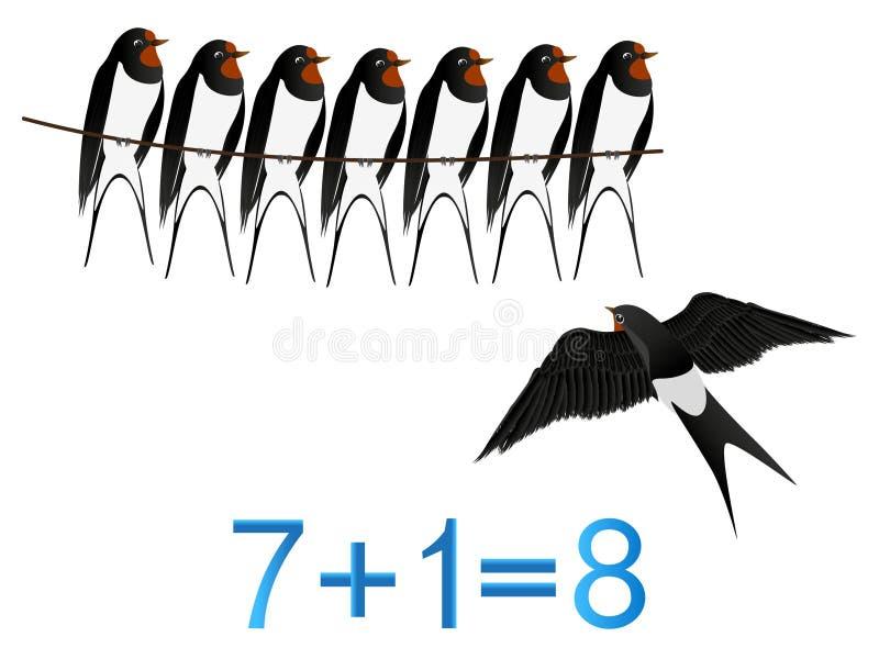 De onderwijsspelen voor kinderen, vorming nummer acht, voorbeeld met slikt stock illustratie