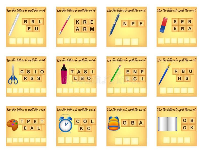 De onderwijsspelling gooit spel door elkaar royalty-vrije illustratie
