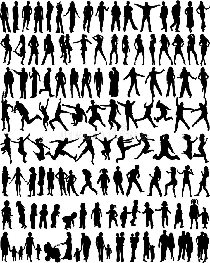 De onderworpen Silhouetten van Mensen vector illustratie