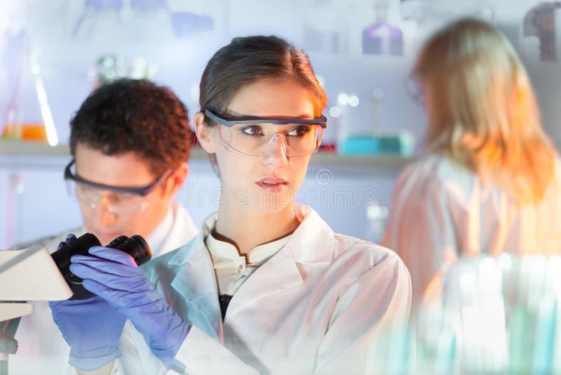 De onderzoekers van de het levenswetenschap in genetisch wetenschappelijk laboratorium royalty-vrije stock foto