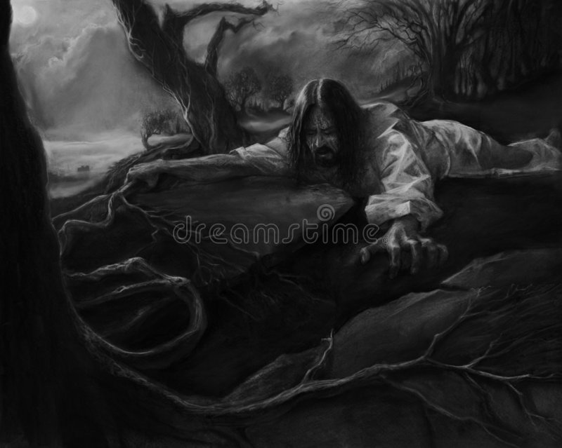 De Ondraaglijke pijn van Gethemane stock illustratie