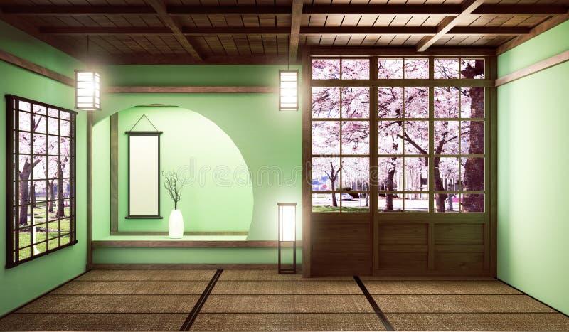 De onechte omhoog Grote stijl van de ruimte zeer Luxe zen, ontwierp specifiek in Japanse stijl, lege groene ruimte het 3d terugge royalty-vrije illustratie