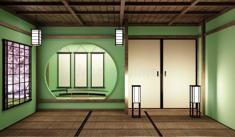 De onechte omhoog Grote stijl van de ruimte zeer Luxe zen, ontwierp specifiek in Japanse stijl, lege groene ruimte het 3d terugge vector illustratie