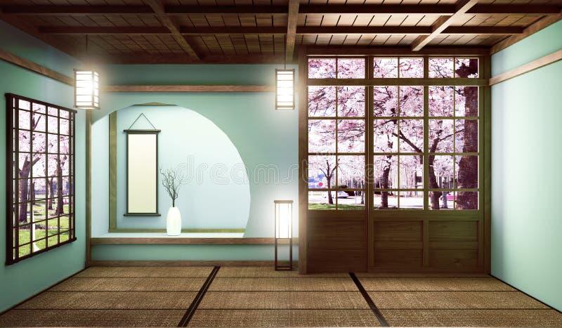 De onechte omhoog Grote stijl van de ruimte zeer Luxe zen, ontwierp specifiek in Japanse stijl, lege muntruimte het 3d teruggeven vector illustratie