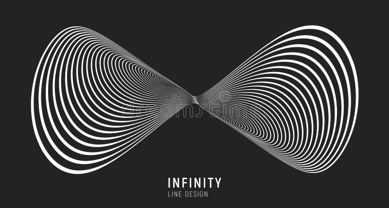 De oneindigheid stileerde teken van lijnen wordt gemaakt die VectordieIllustratie op zwarte achtergrond wordt ge?soleerd stock illustratie