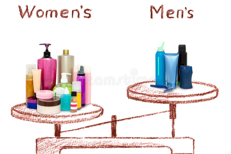 De ongelijkheid van mannelijke en vrouwelijke schoonheidsmiddelen op de schalen royalty-vrije illustratie