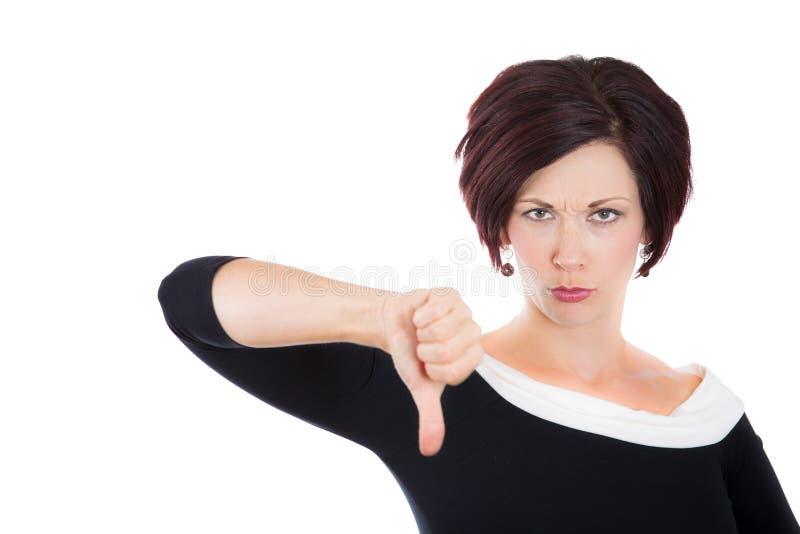 De ongelukkige vrouw, vrouw, businessperson gevend beduimelt onderaan gebaar stock afbeeldingen