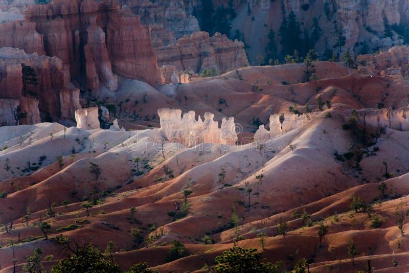 De ongeluksboden van de Canion van Bryce in de eerste stralen van zon royalty-vrije stock foto
