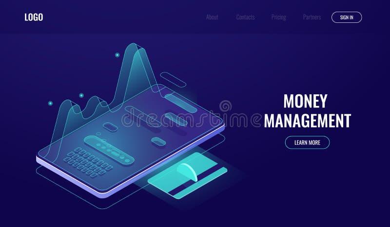 De online bankieren app, de statistieken van uitgaven en de inkomens, geldbeheer, betaling en betalen rapport, winkelend Internet royalty-vrije illustratie