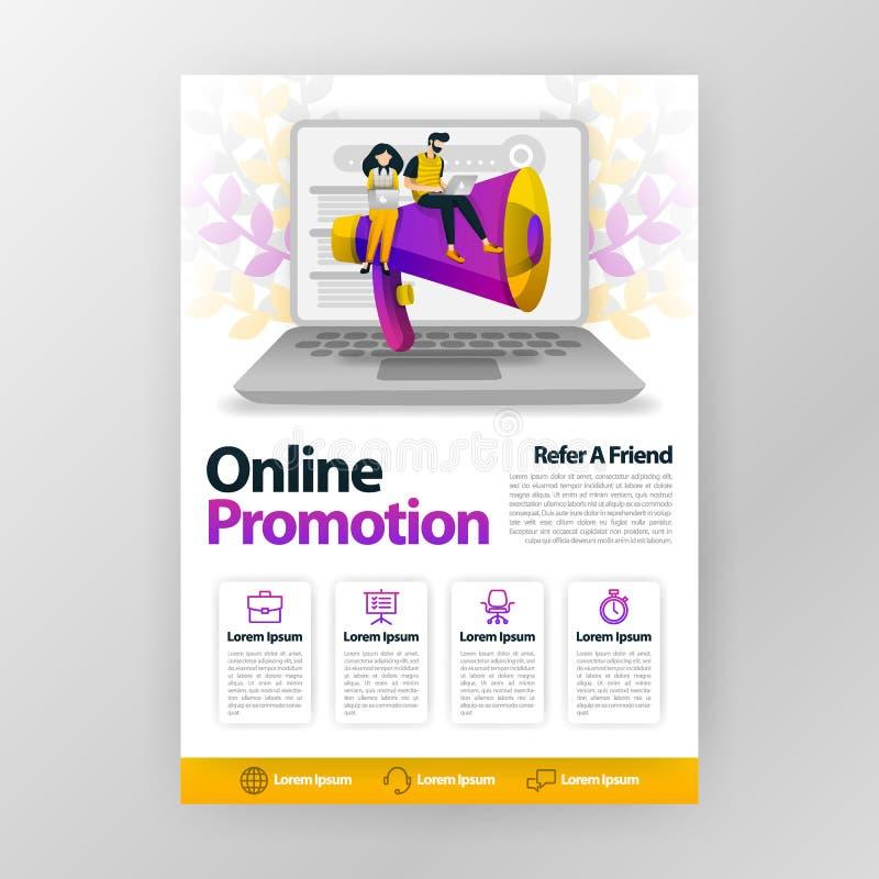 De online bevordering en verwijst een vrienden bedrijfsaffiche met vlakke beeldverhaalillustratie van het de brochuretijdschrift  vector illustratie