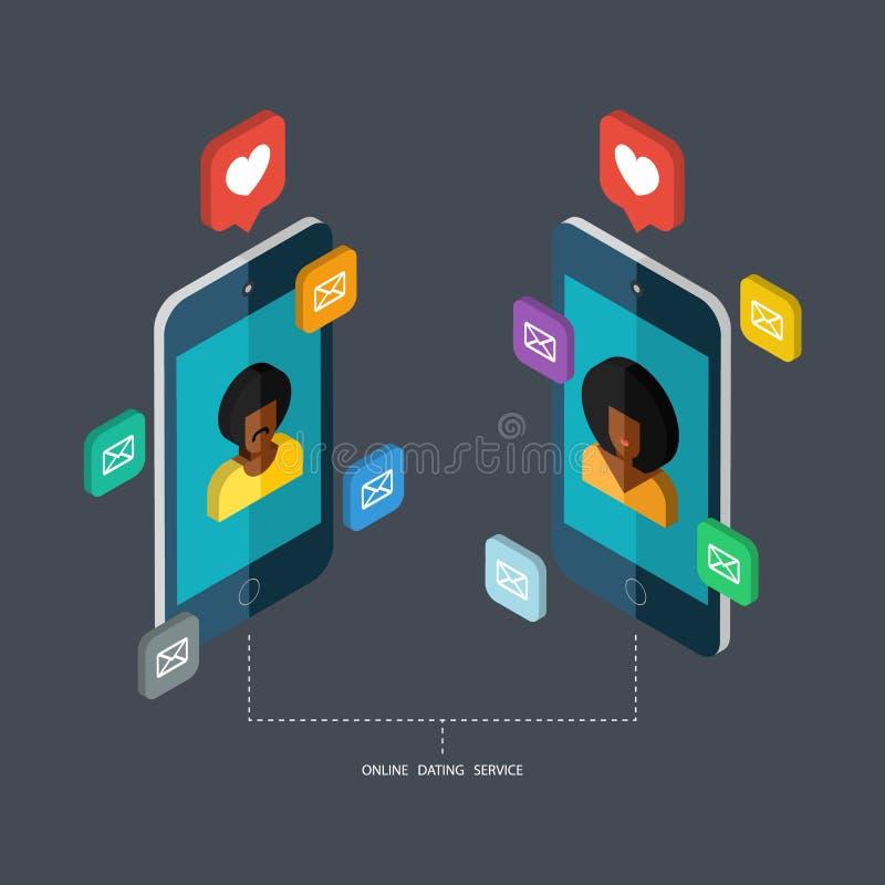 De online daterende dienst, virtuele mededeling vector illustratie