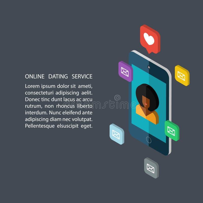 De online daterende dienst, virtuele mededeling en het zoeken van liefde in Internet stock illustratie