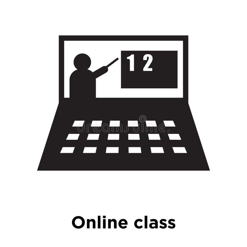 De online die vector van het klassenpictogram op witte achtergrond, conc embleem wordt geïsoleerd stock illustratie
