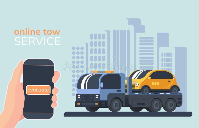 De online dienst voor evacueert van defecte voertuigen Slepenvrachtwagen Wreckerauto Vector illustratie stock illustratie