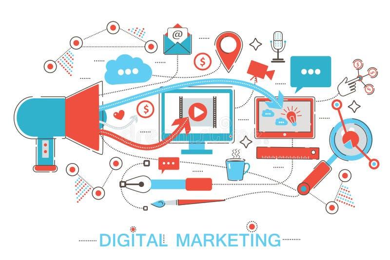 De online Digitale Marketing en de sociale netwerkmedia die strategiemedia brandmerken kleuren vlak lijnconcept voor adreskaartje vector illustratie