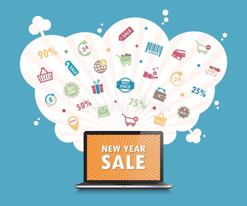 De online het winkelen achtergrond van de conceptendesktop Vector Illustratie stock illustratie