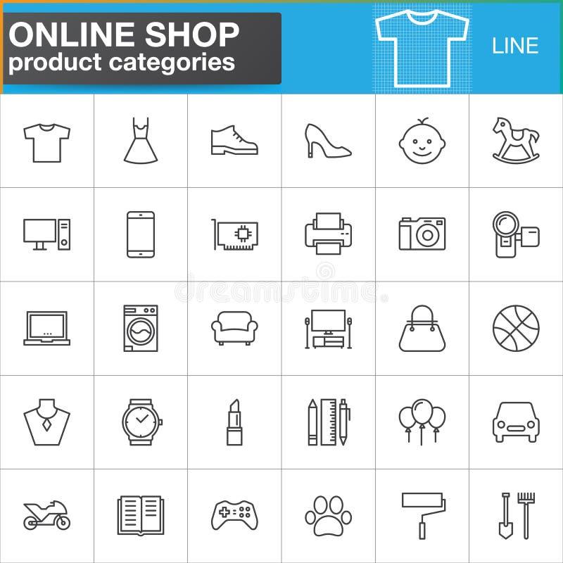 De online het winkelen geplaatste de lijnpictogrammen van productcategorieën, schetsen vectorsymboolinzameling, het lineaire pak  vector illustratie