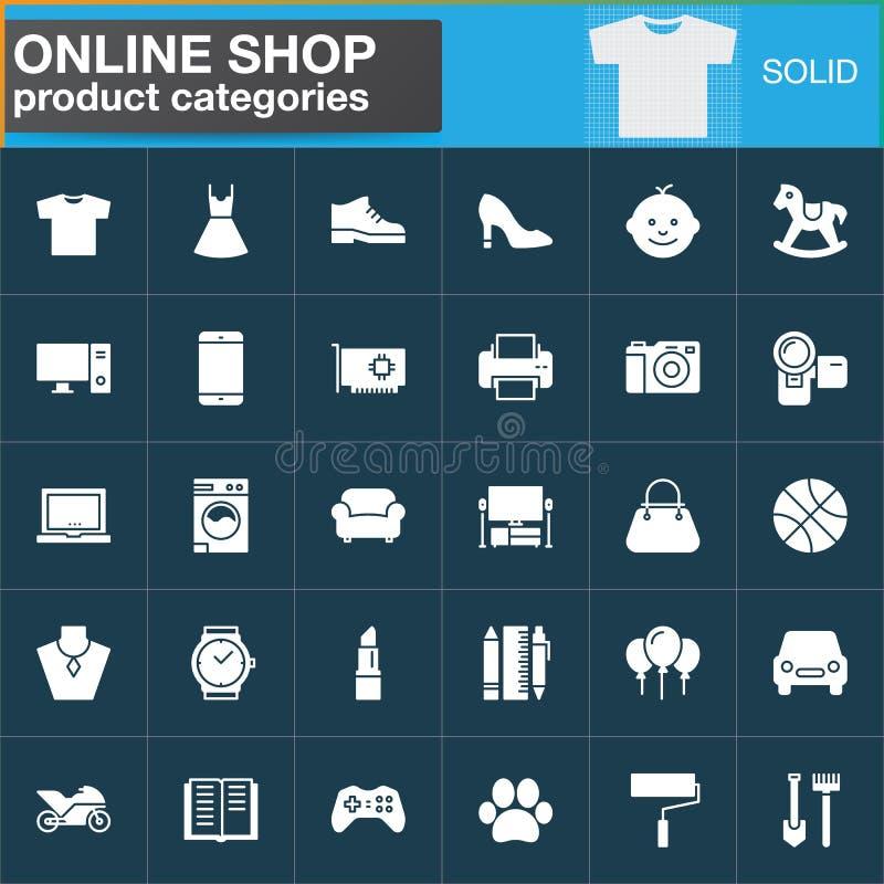De online het winkelen vector geplaatste pictogrammen van productcategorieën, de moderne stevige symboolinzameling, vulden wit pi stock illustratie