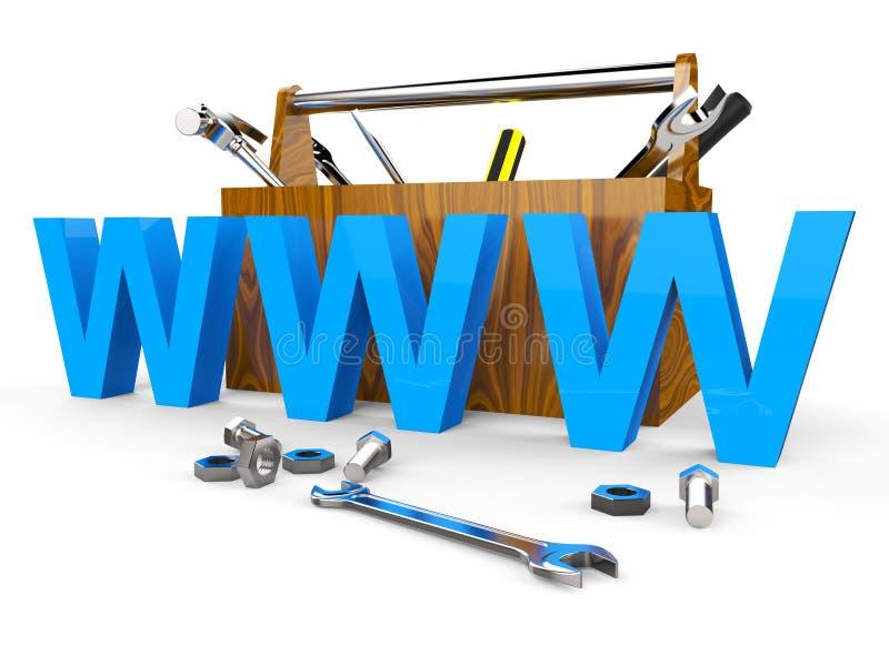 De online Hulpmiddelen toont World Wide Web en Apparaten stock illustratie
