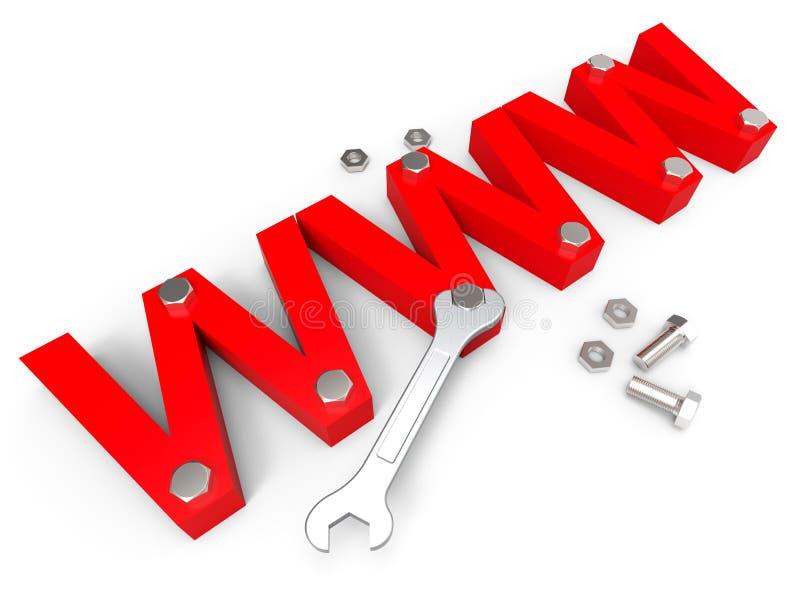 De online Hulpmiddelen wijst op World Wide Web en Apparaten vector illustratie