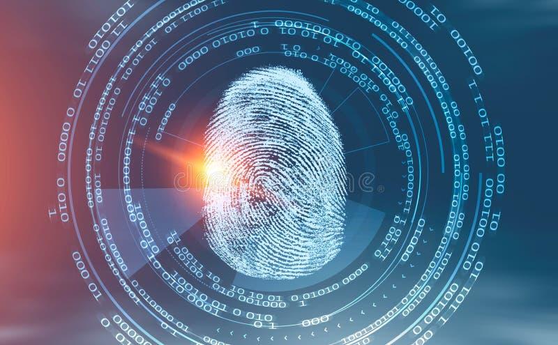 De online identificatie van de vingerafdruk hud interface stock illustratie