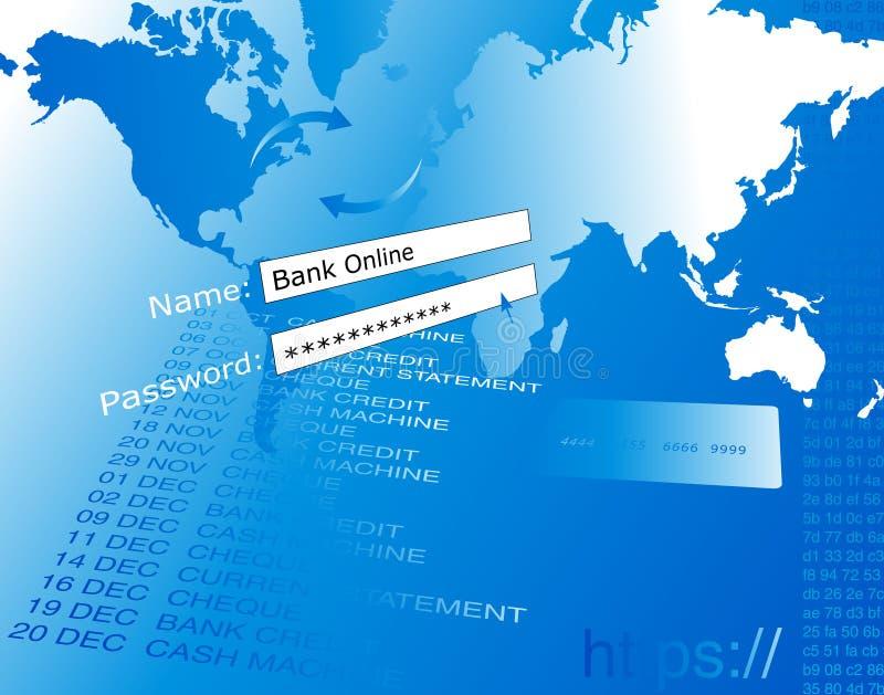 De online illustratie van de bank. royalty-vrije illustratie