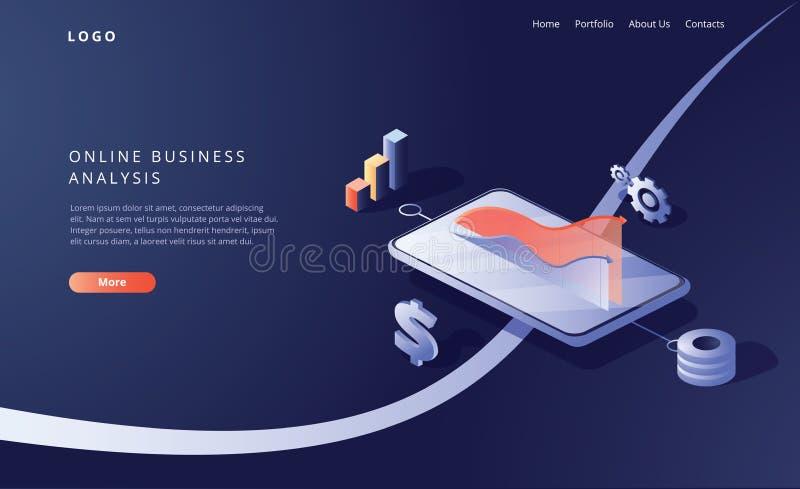 De online isometrische vectorillustratie van de bedrijfsanalysestrategie Gegevensanalytics voor bedrijf marketing oplossingen vector illustratie